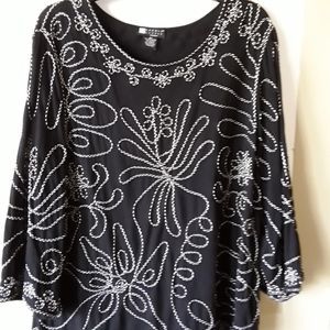 Carole Little Tops - Casual Embroidered Tunic Top